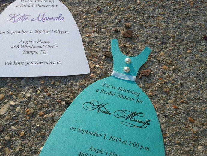 Little Wedding Dress Bridal Shower / Birthday Party Invites / Personalized Set