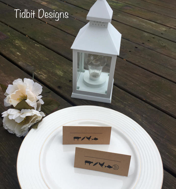 25 Fill in the Name Meal Choice Place Card Set
