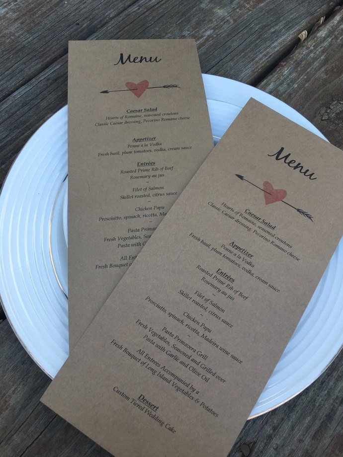 From Us With Love Personalized Menu Cards