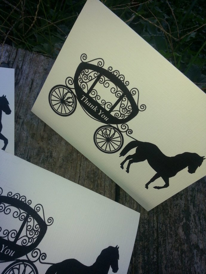 Personalized Horse and Carriage Thank you Cards / Note Cards/ Greeting Cards