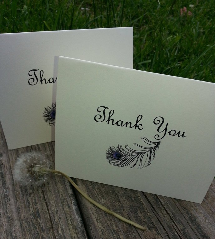 Beautiful Feather Personalized Thank You / Note Cards/ Set of 25