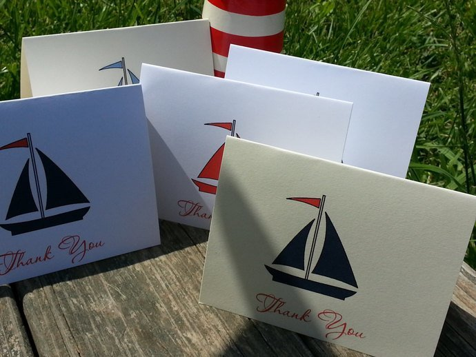 Little Sailboat Thank You / Note Card Personalized Set