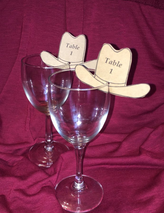 25 Cowboy Hat Wine Glass Place Cards /Escort Tags/ Personalized/Wedding/ Special
