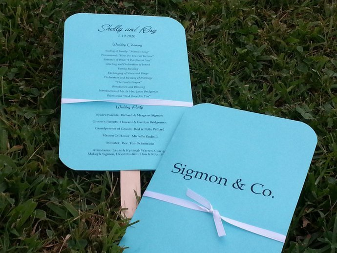 Classic Your Name & Co. Style Wedding Paddle Programs Fans / Favor