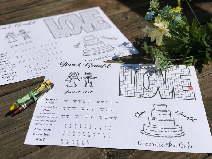 Wedding Kid's Activity Coloring Sheet and Crayon Set / Favor  - Wedding