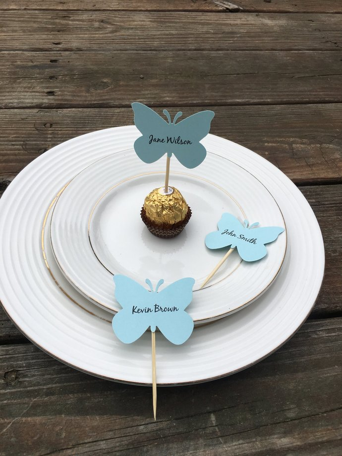 Butterfly Place  Cards Name Favors - Perfect for Your Ferrero Rocher Chocolate