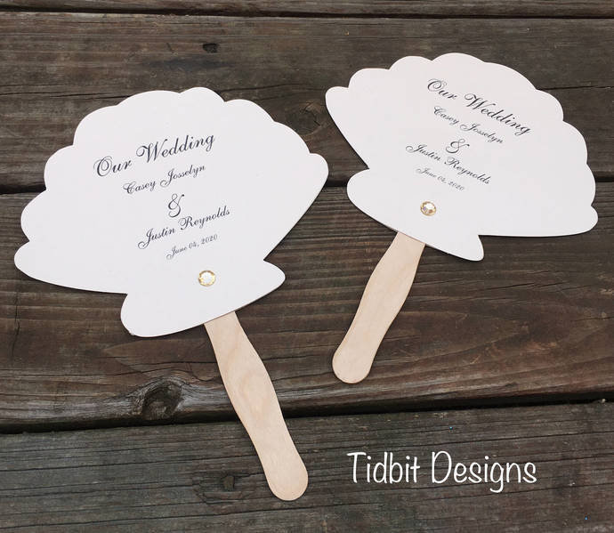 Shimmery Sea Shell Wedding Paddle Programs / Favors / Special Events