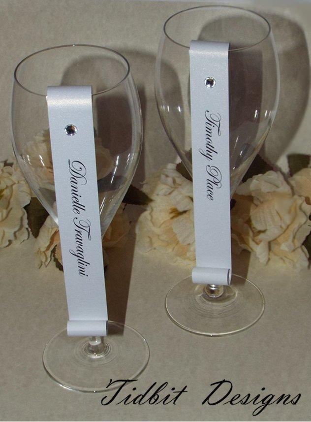 Set of 25 Shimmery Pearl & Rhinestone Champagne Flute / Escort Card Scroll