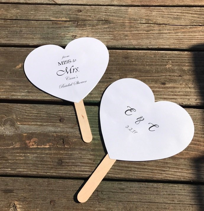 25 Shimmery Pearl  Heart Shaped Paddle Wedding Program / Favors / Outdoor
