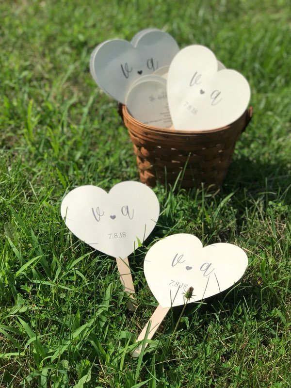 40 Shimmery Pearl  Heart Shaped Paddle Wedding Program  / Favors / Outdoor