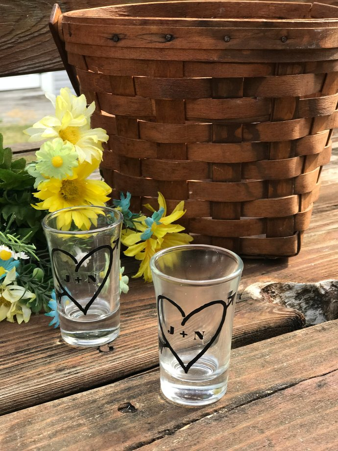 Personalized Heart + Bride and Groom Initials Shot Glass