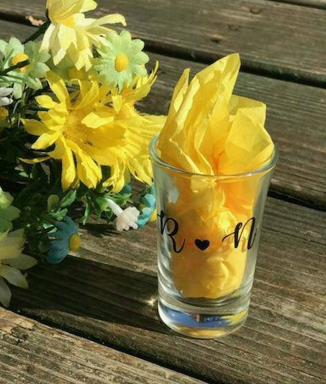 Personalized Bride and Grooms Initials Shot Glass