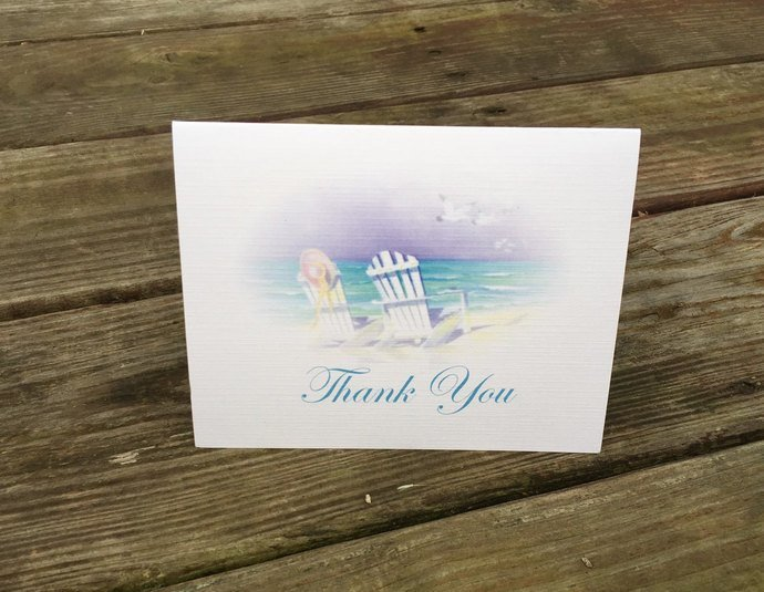 Life's a Beach Thank you Card Set / Personalized Set of 25