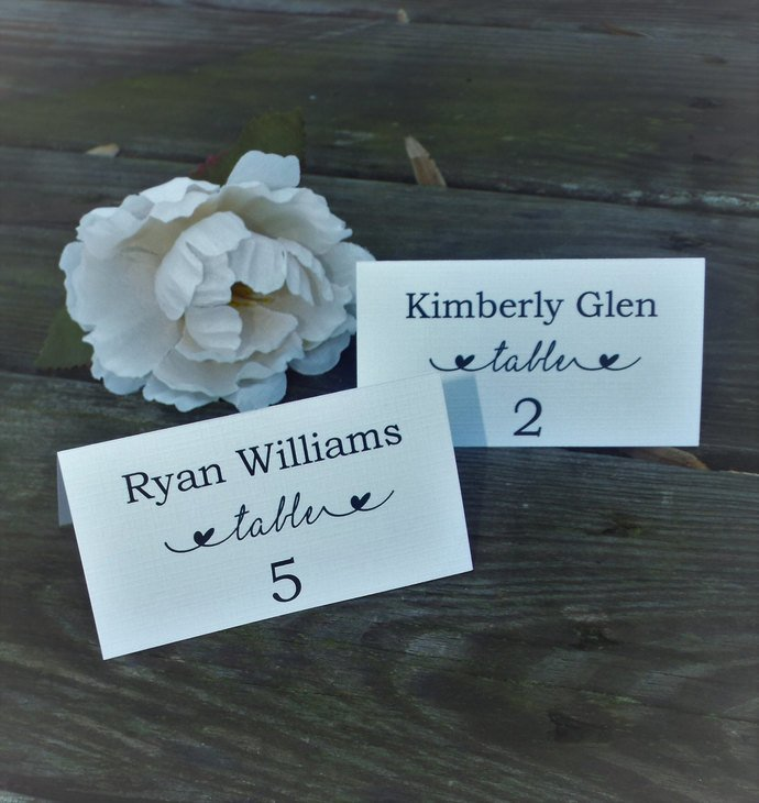 Beautiful Linen Tent Style Place Cards / Personalized set of 25