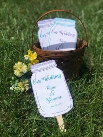 Playful Colors Mason Jar Wedding Paddle Programs / Favors - Personalized Set of