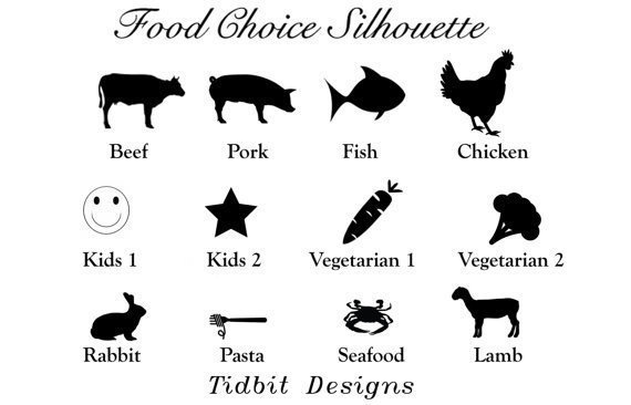 Create Your Own - Downloadable Meal Choice Place Card Template / Tent Cards /