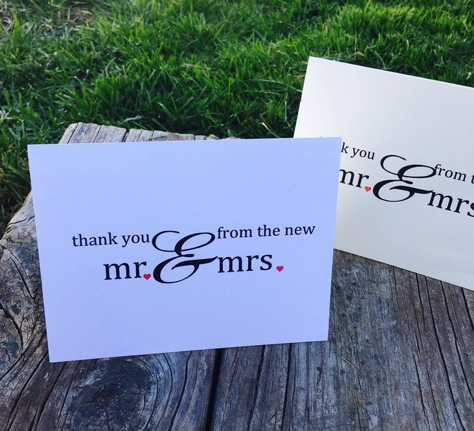 Mr & Mrs Personalized Wedding Thank you Cards / Note Cards