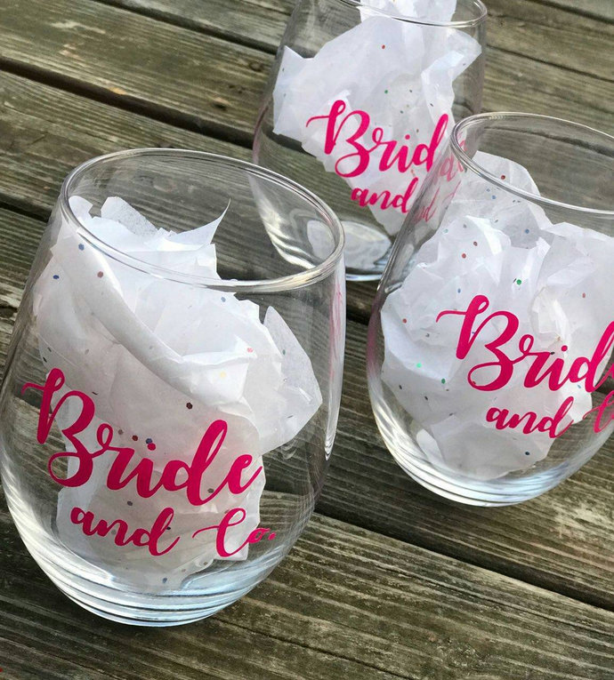 Set of 5 Bride & Co. Bridal Party Gift Stemless Wineglass /Bachlorette Party