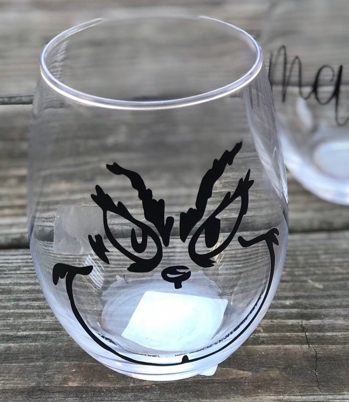 Grinch Stemless Wine Glass / Christmas / Personalized
