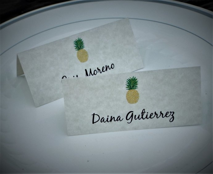 25 Personalized Pineapple Tent Style Place Cards