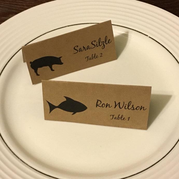25 Large Meal Choice Selection Place Cards / Escort Cards Place Card / Table
