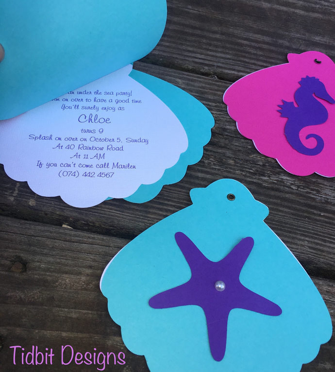 Under the Sea Clam Birthday Party / Baby Shower Invitation Set