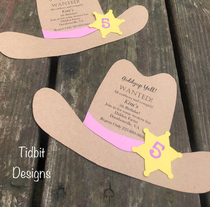 Little Cowboy/ Cowgirl Hat Invitations / Cut outs / Birthday/ Showers/ Western