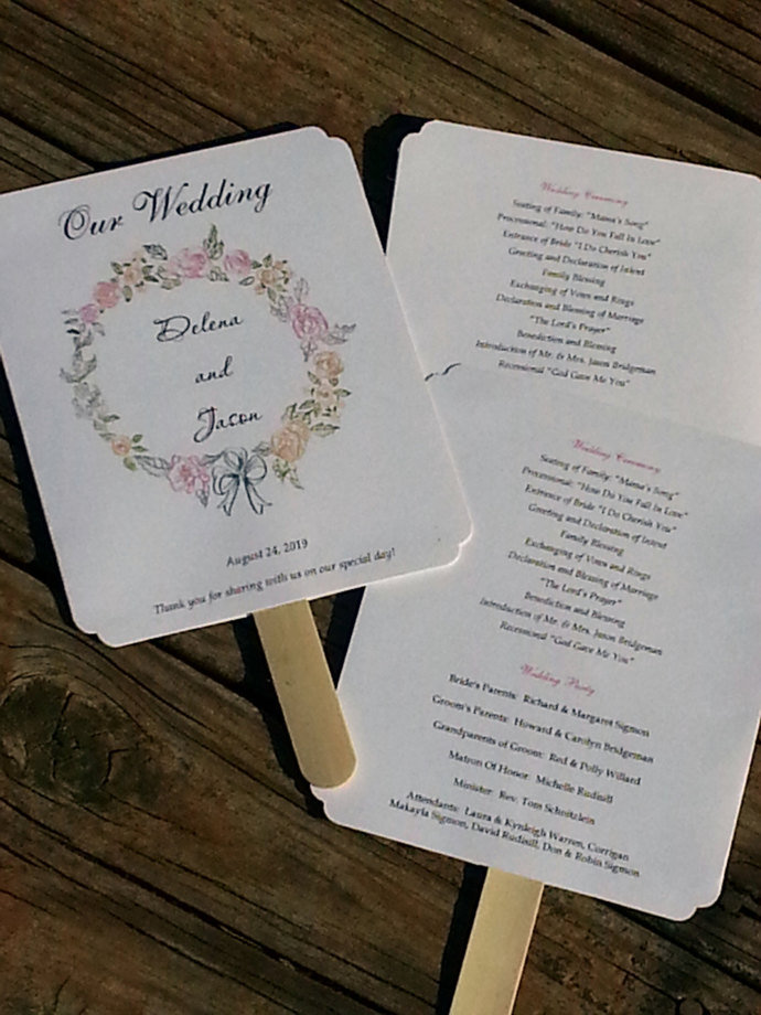 Set of 50 Beautiful Floral Wreath Paddle Programs Fans - Personalized Wedding /