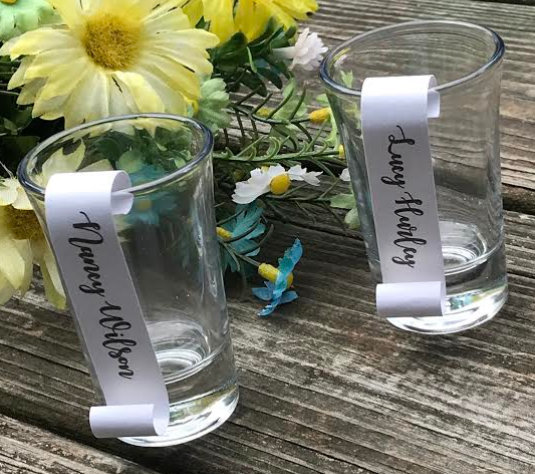 Shimmery Mini Shot Glass Scrolls / Guest Name Cards - Wedding / Special Event /