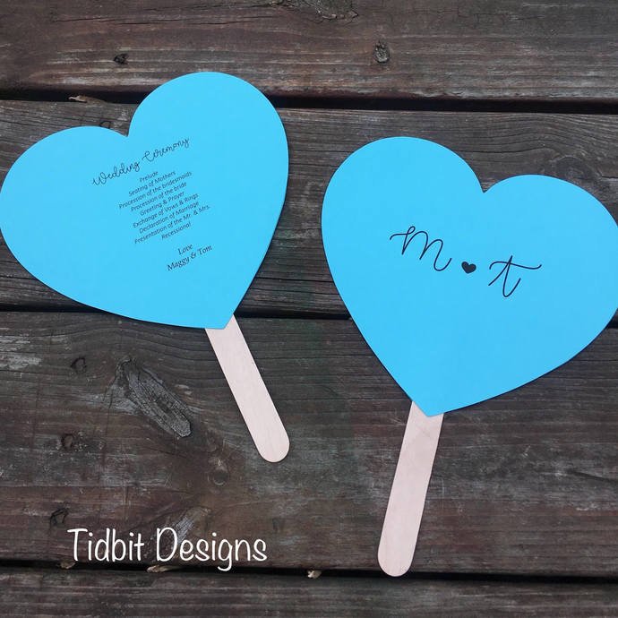 With All my Heart Personalized Heart Shaped Paddle Wedding Program / Favors