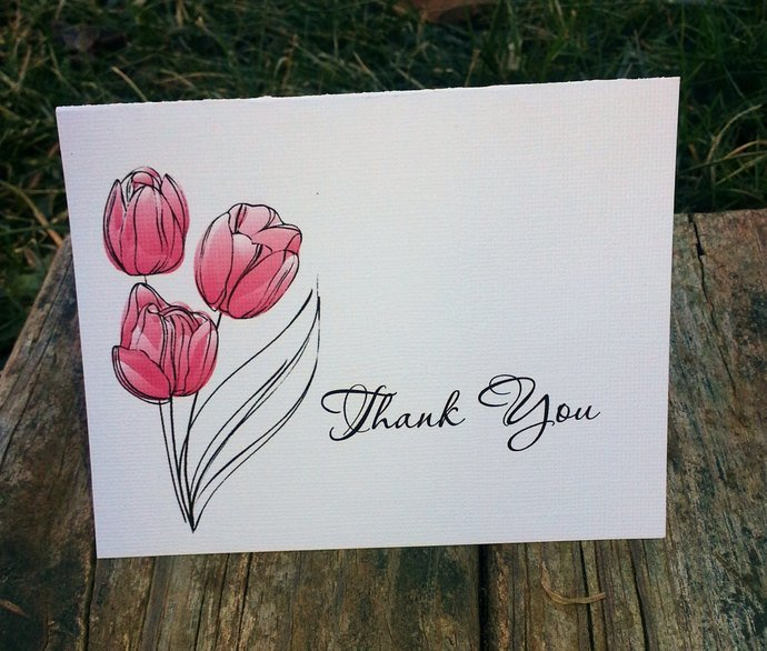 Pretty Tulips Thank you / Note Cards - Personalized Set of 25
