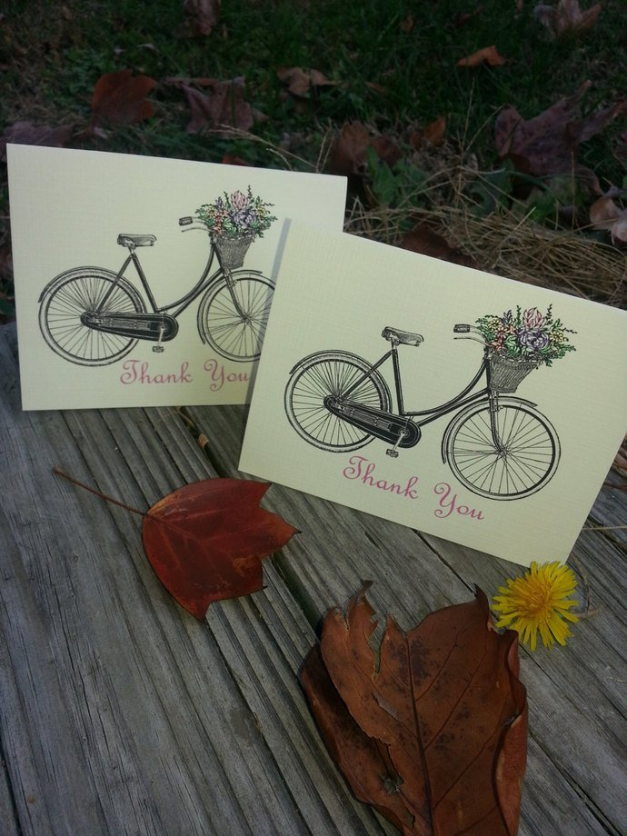 Bicycle with a Basket Thank you Cards/ Note Card - Set of 25