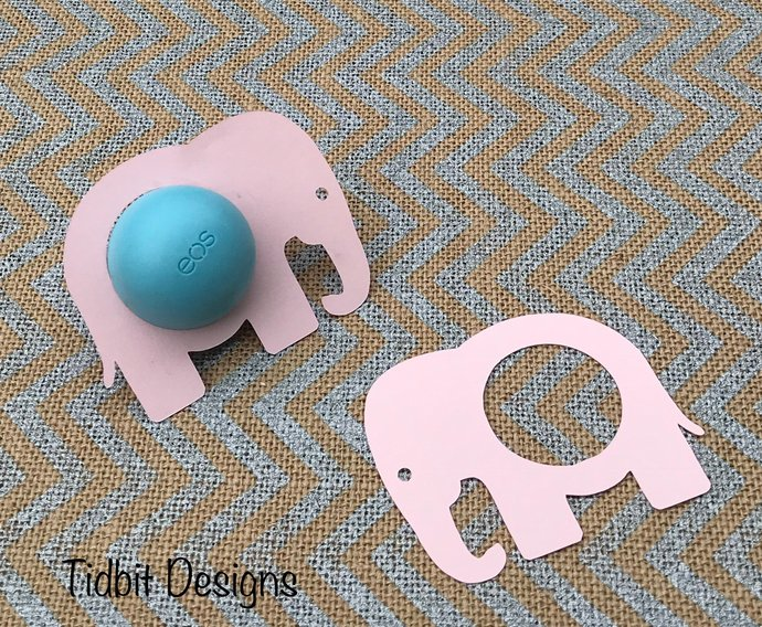 Set of 6 Baby Elephant  eos  Lip Balm Holders - Favors / Showers / Gifts