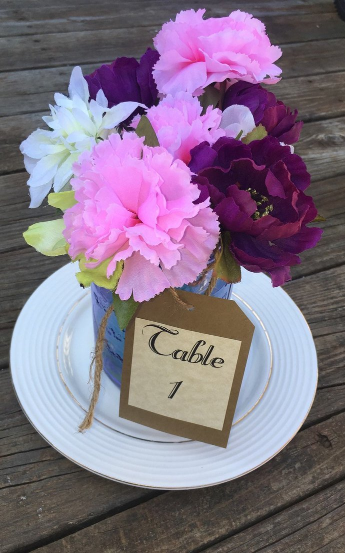 Large Rustic Style Hanging Table Tags / Jars/ Wine Bottles / Wedding / Party
