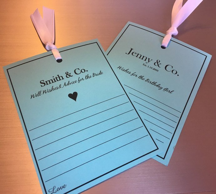 Personalized Bridal Shower /Birthday/ Party Favor Aqua Blue Well Wishes / Advice