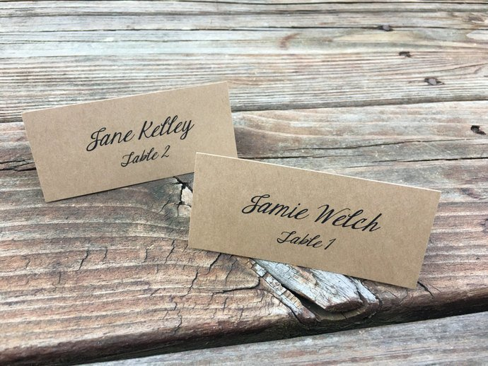 25 Personalized Classic Tent Place Cards / Escort Cards