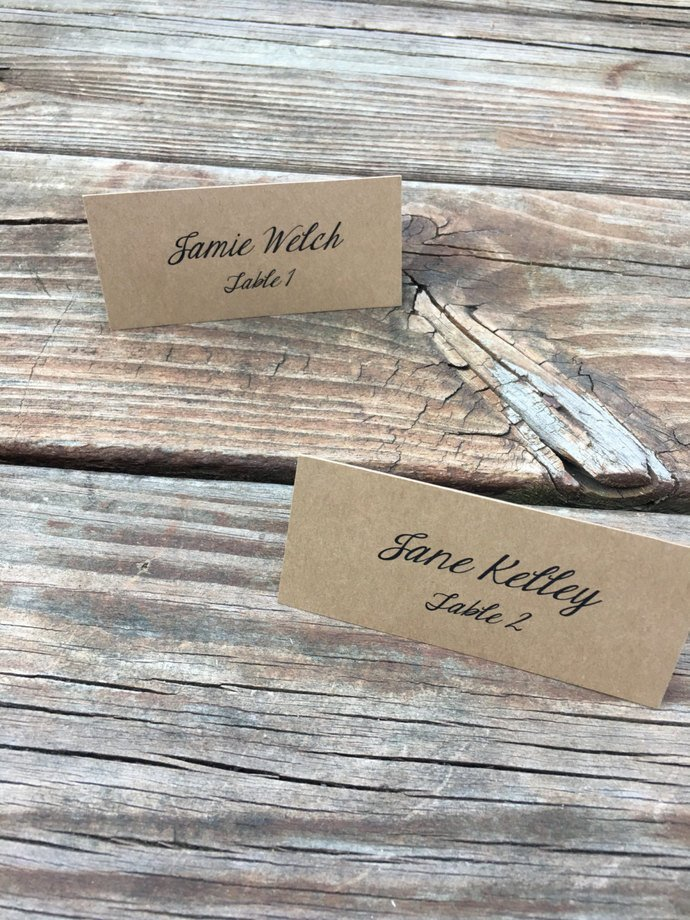 25 Personalized Classic Tent Place Cards / Escort Cards Place Card