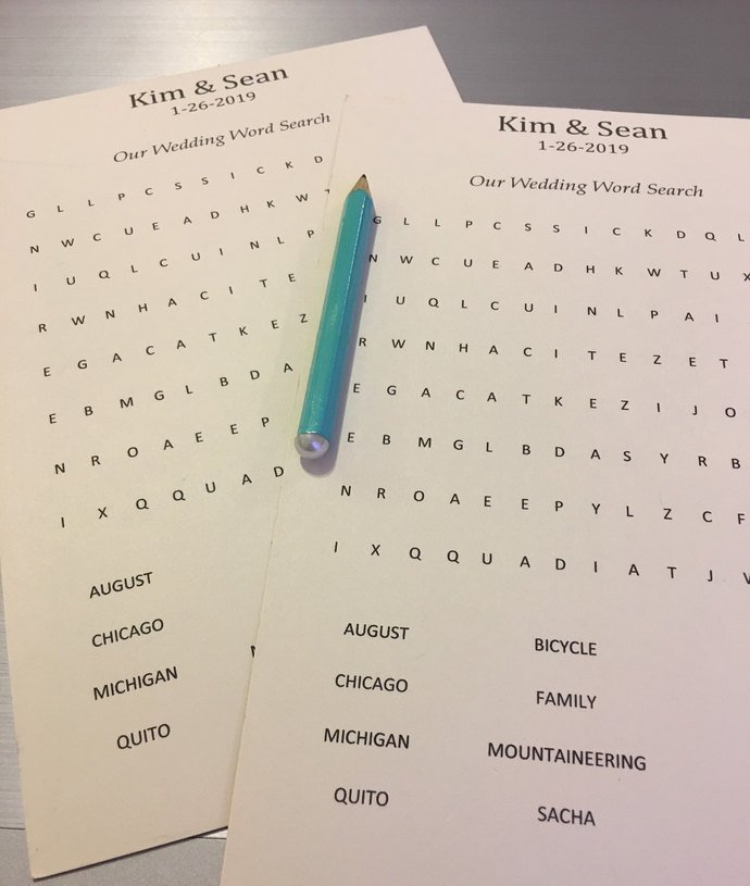 Personalized Word Search Puzzles / Wedding / Shower/ Baby Shower / Party Favors