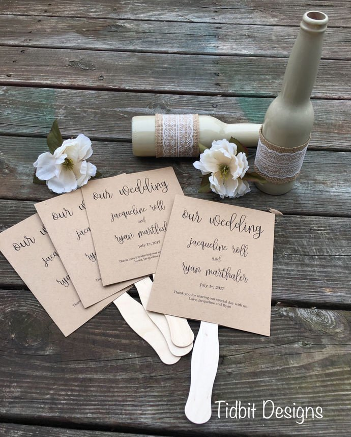 50 Classic Rustic Wedding Paddle Fans Programs / Favors / Special Events