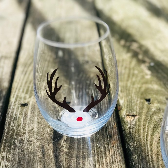 Reindeer Christmas / Holiday Stemless Wine Glass