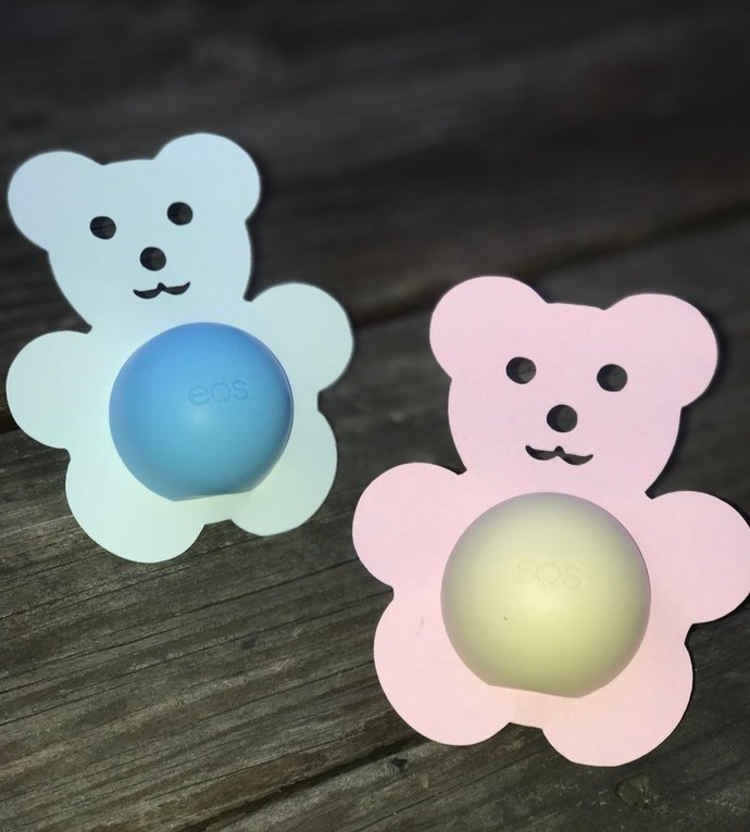 Teddy Bear eos Lip Balm Holders / Set of 10 - Baby Shower Favor - Boy / Girl