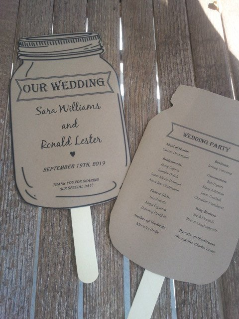 Rustic Mason Jar Wedding Paddle Programs / Favors - Personalized Set of 25