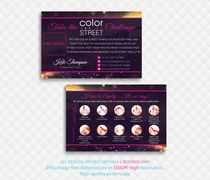 Color Street Challenge, Color Street Free Sample, Personalied Color Street  Twosie Cards, Glitter Cards, Digital File card, CL118