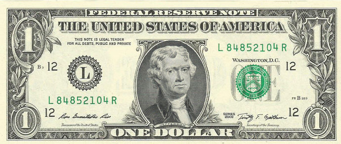 One Dollar with JEFFERSON instead of Washington Novelty ERROR Bill Real Cash