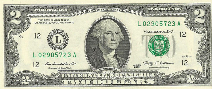 Two Dollar with WASHINGTON instead of Jefferson Novelty ERROR Bill Real Cash