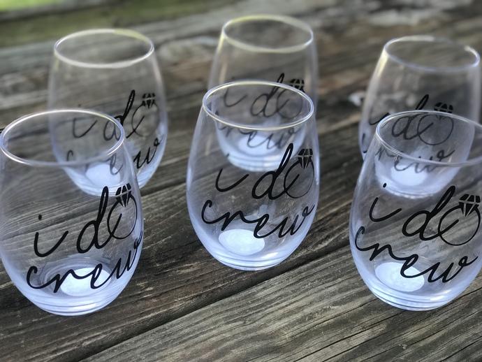 Set of 5 I do or I do Crew Stemless Wine Glass with Wedding Date / Bachelorette