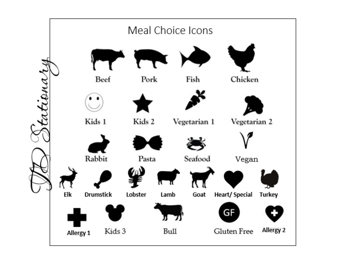 Set of 100  Meal Choice Stickers - Escort / Place Card Options / Meal Option