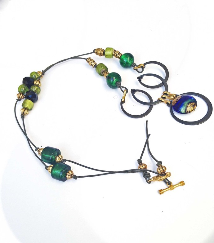 Long Boho BeadedNecklace with Green Glass and Brass Beads, Black Leather Cord,