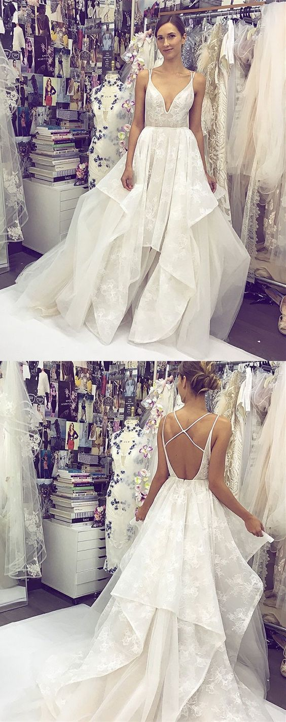 A-Line Spaghetti Straps Backless Long Lace Wedding Dress BD1333