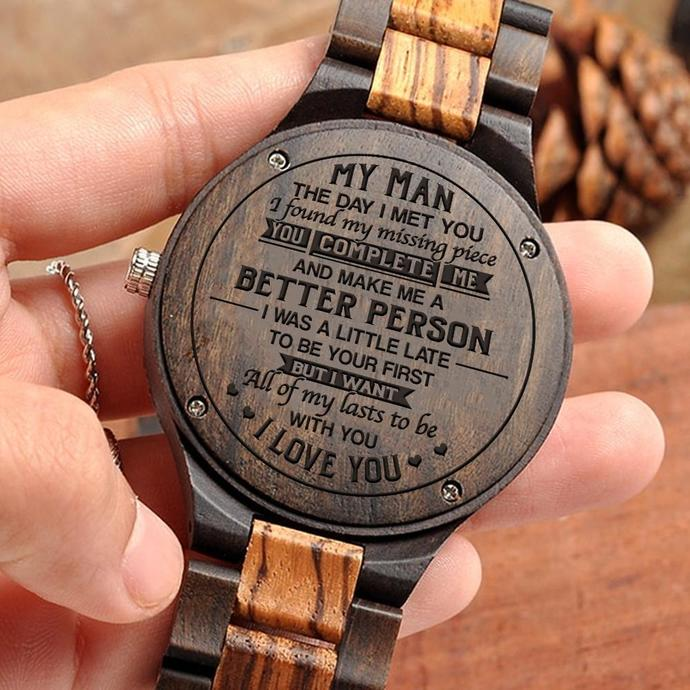 2111d65e0d73b Great Gift For Husband Engraving Wooden Watch